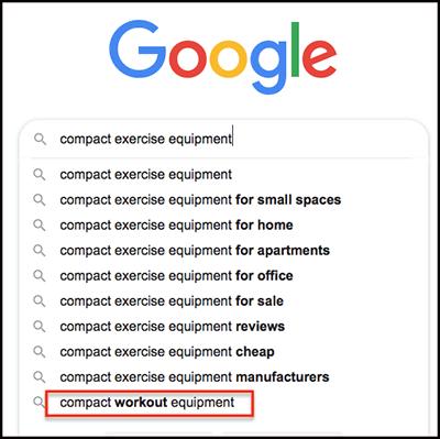 google's predictive search results
