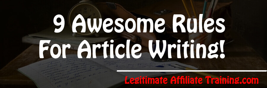 RULES FOR ARTICLE WRITING