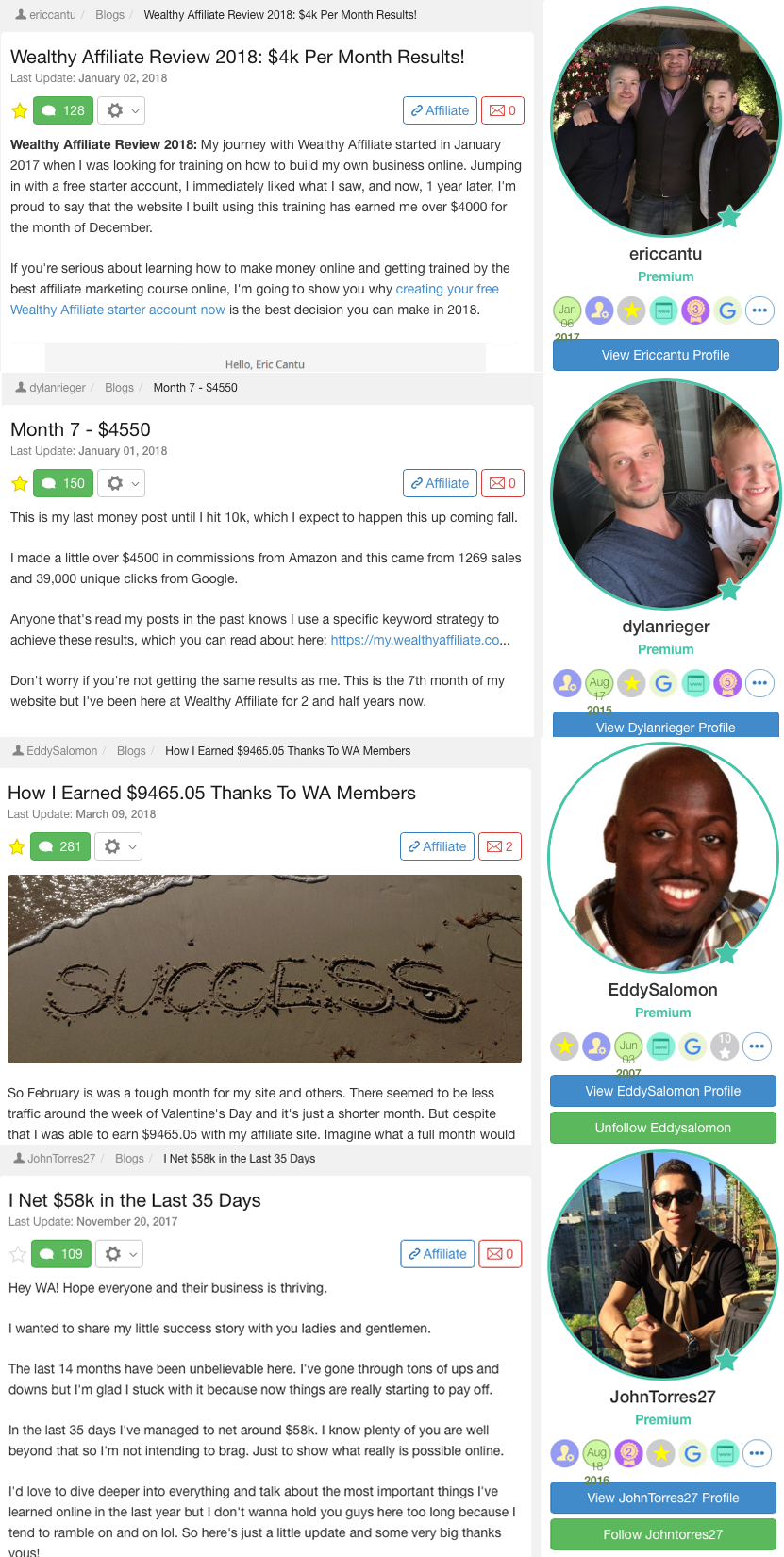 wealthy affiliate marketing success stories