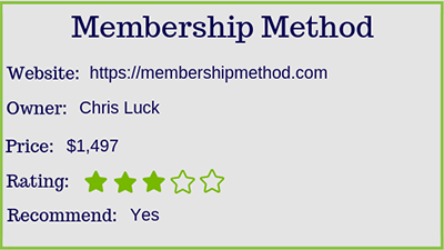 chris luck membership method rating