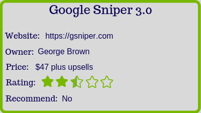 what is the google sniper 3.0 rating