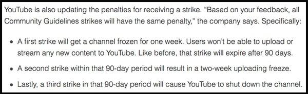 youtube three strike policy