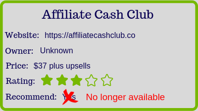 the affiliate cash club review - rating