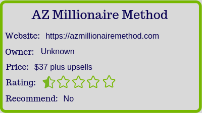 The AZ Millionaire Method (Review) rating