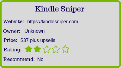 what is kindle sniper review rating