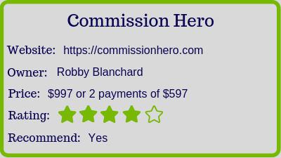 the commission hero review (rating)