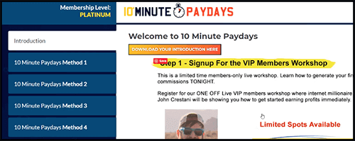 10minutepaydays membership dashboard