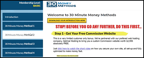 30 minute money methods membership dashboard