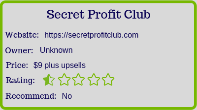 The Secret Profit Club review (rating)