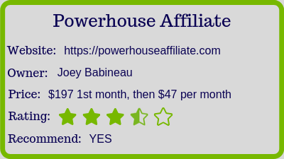 powerhouse affiliate review rating
