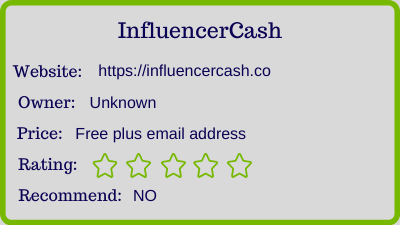 influencercash review - rating