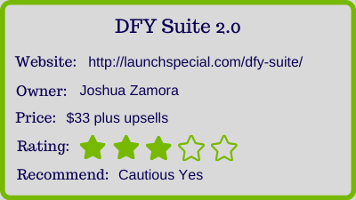the DFY Suite 2.0 review - rating