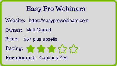 easy pro webinars review - rating